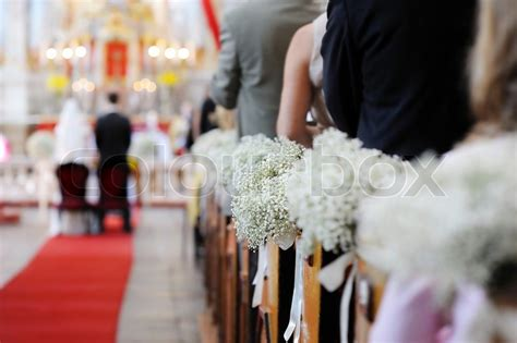 beautiful decorations beautiful wedding flower decorations in a church stock photo colourbox