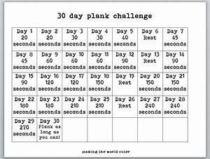 30 Day Plank Challenge Chart