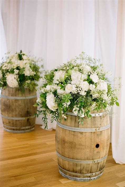 diy whiskey barrel  whiskey barrel wedding ideas