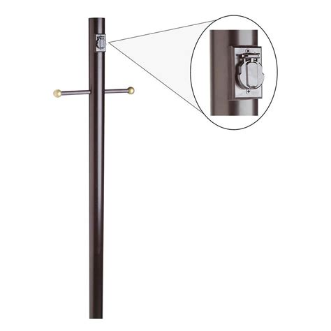 outdoor l post with outlet design house black l post with cross arm and electrical