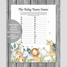 Printable Baby Shower Name Game  Baby Shower Names A To Z  Jungle Safari Watercolor Theme