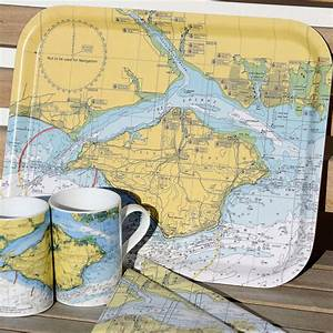 Nautical Seaside Solent Chart Tray By Living By The