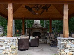 Designs Llc Western Red Cedar Pavilion Fireplace Outdoor Kitchen And