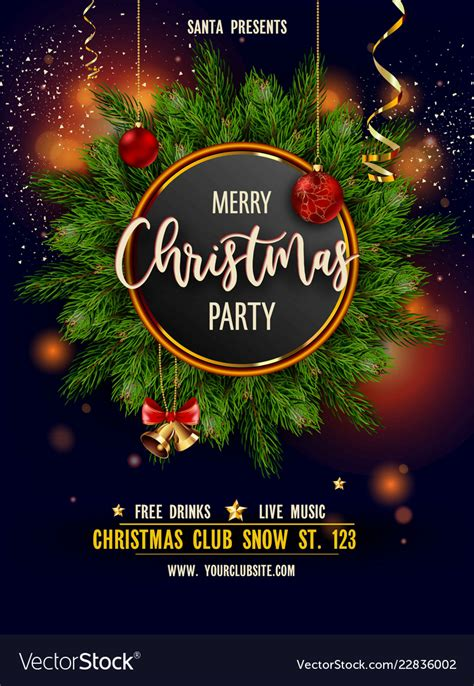 Merry christmas party invitation poster with main Vector Image