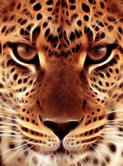 leopard face fractal iphone wallpaper lock screen