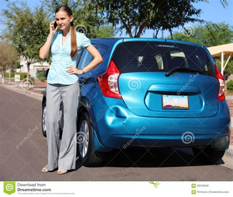 upset woman  car accident stock photo image