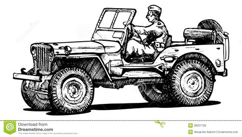 ww2 jeep drawing world war two army jeep royalty free stock photos image