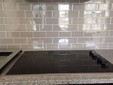 grey subway tile backsplash  house glass subway