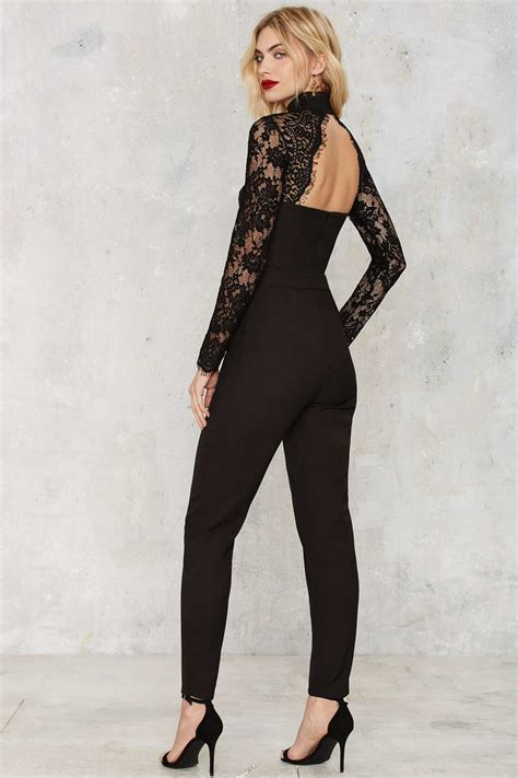 lace jumpsuit misha collection kiara lace jumpsuit in black lyst