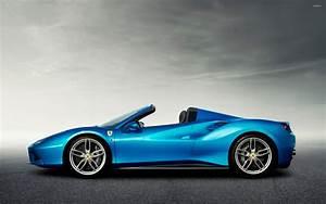 Blue Ferrari 488 Spider side view wallpaper - Car ...