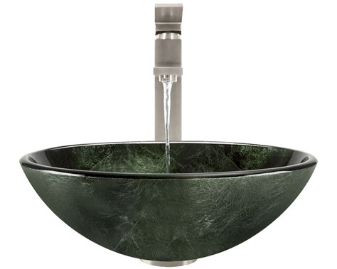 forest green glass vessel bathroom sink