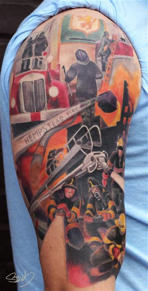 fire department painting tattoo  marvin silva tattoos