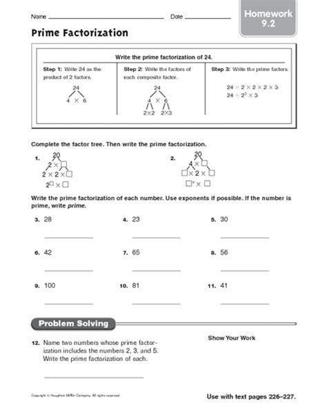 Prime Factorization Tree Worksheets 6th Grade  Primary Resources Factors And Worksheets On