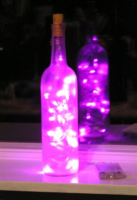 frosted clear wine bottle light  pink led lights