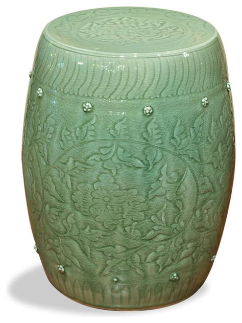 celadon porcelain garden stool asian accent and garden
