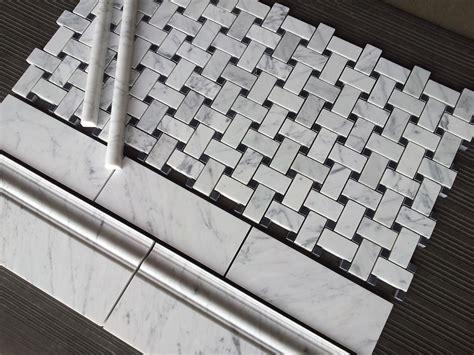 basket weave carrara tile basketweave marble tile the builder depot blog
