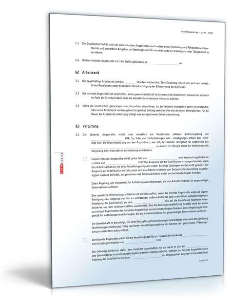 anstellungsvertrag leitende angestellte muster zum