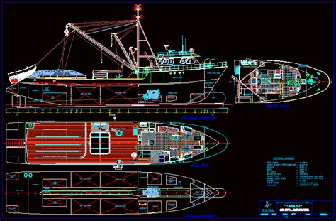 fishing ship dwg plan for autocad designs cad