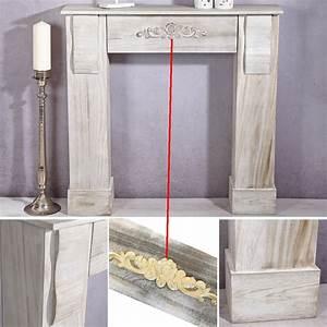 Kamin Attrappe Holz : kamin attrappe shabby wei holz deko kamin kaminumrandung ~ Michelbontemps.com Haus und Dekorationen