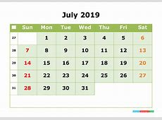 2019 Printable Calendar Month by Month Calendar Template
