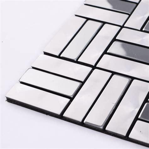 wholesale metallic mosaic tile aluminum panel wall stickers strip metal tiles backsplash silver