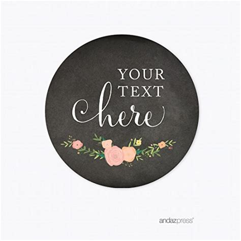 Andaz Press Chalkboard Floral Party Wedding Collection, Round Circle Label Stickers