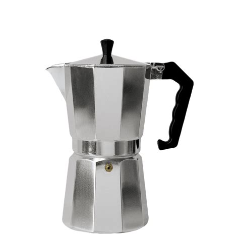 This stovetop espresso maker brews under a mild pressure, forcing hot water up from the base through ground coffee then into the top carafe in just minutes! Aluminum Stovetop Espresso Coffee Maker 6 cup - Primula