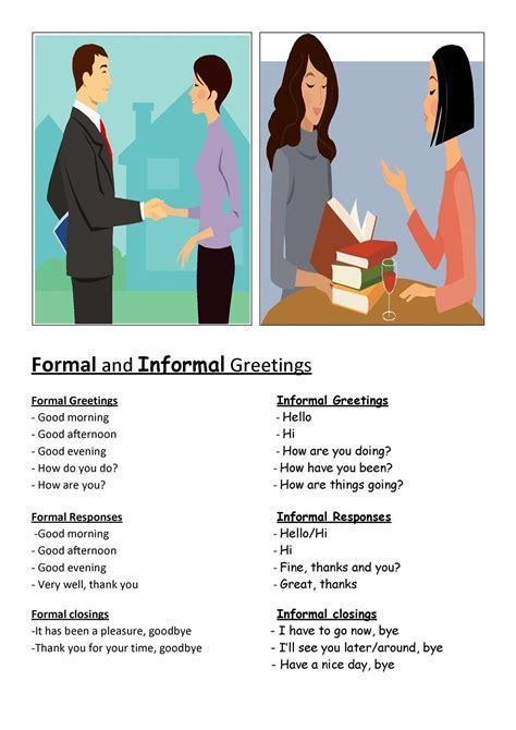 english greeting expressions formal  informal radix