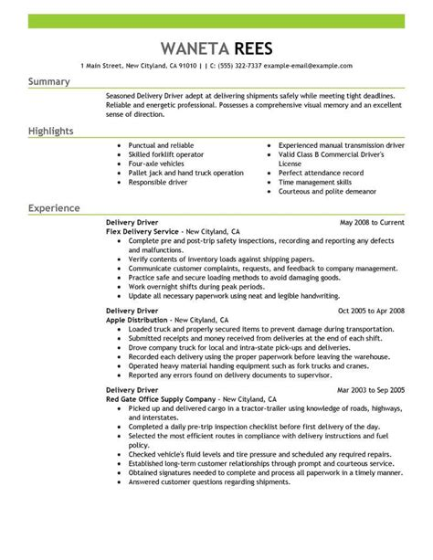 Driver Skills Resume by Delivery Driver Resume Sle Driver Resumes Livecareer
