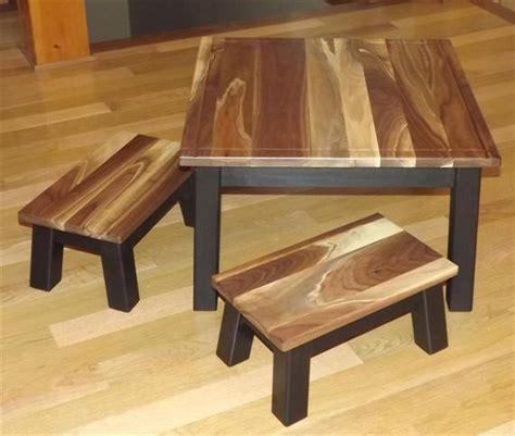 items similar  reclaimed wood childrens table  stools walnut top step stool foot stool