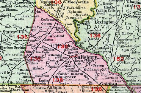 salisbury n c offender map rowan county north carolina 1911 map rand mcnally