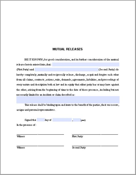 mutual releases agreement template  fillable
