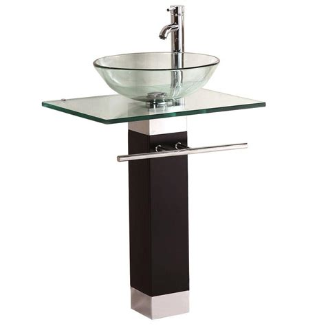 home depot bathroom sink installation kokols pedestal combo bathroom sink in clear wf 09 the
