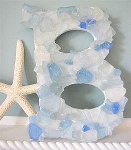 beach decor sea glass letters nautical beach glass wall With glass letters for wall