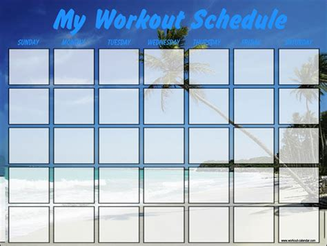 workout calendar template   excel word documents