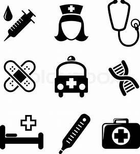 Set of black and white medical icons including a syringe ...