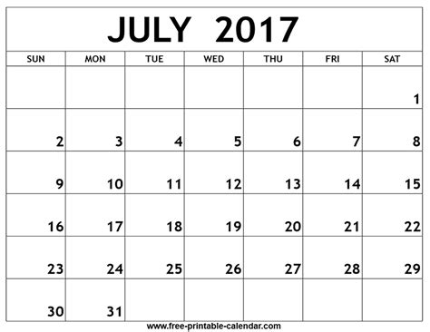 2017 calendar printable printable calendar templates july 2017 calendar printable template pdf holidays july