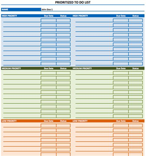 prioritized   list template exceltemplatenet