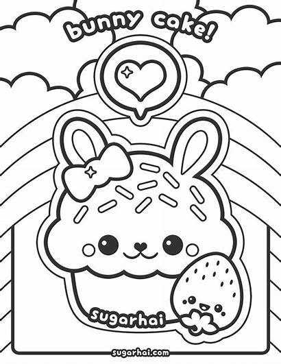 Coloring Pages Kawaii Cartoon Cupcakes Popular