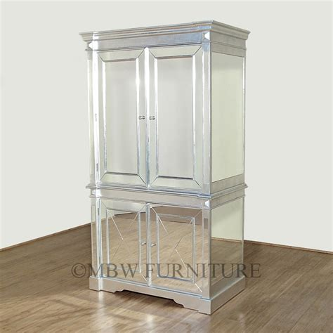 silver deco mirrored armoire wardrobe home decor