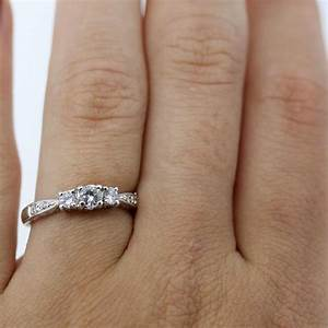 14k white gold 1 2 carat three stone diamond engagement ring With wedding ring 1 carat diamond