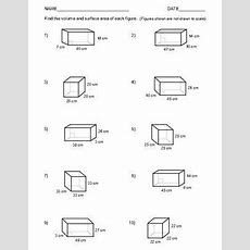 Volume And Surface Area Of Rectangular Prisms Two Worksheets 1  10  New Math Worksheet