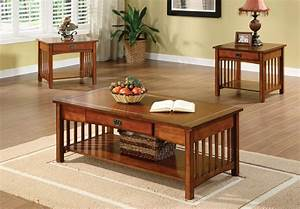 3 piece mission style coffee table set With mission style coffee table sets