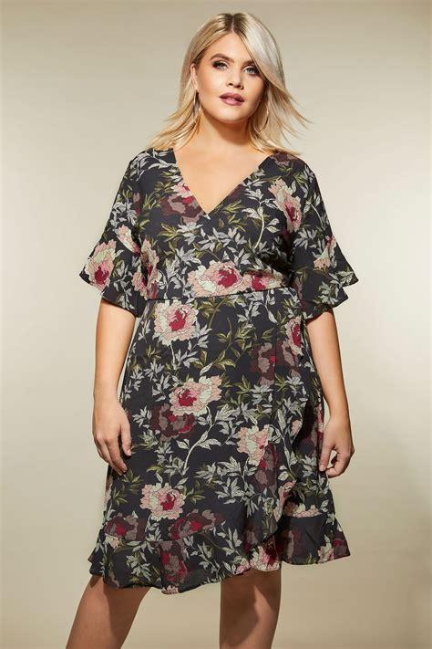 Ax Paris Curve Czarna Sukienka W Kwiaty, Duże Rozmiary 44