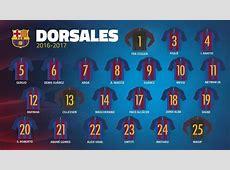 Los dorsales del FC Barcelona 2017