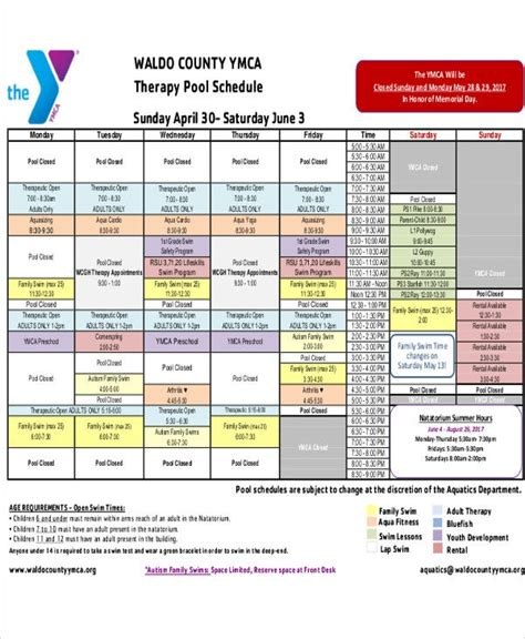 therapy schedule templates sample