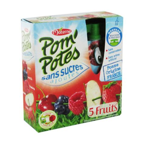 pom potes sans sucres ajoutes 5 fruits rouges materne 4x90g simply market