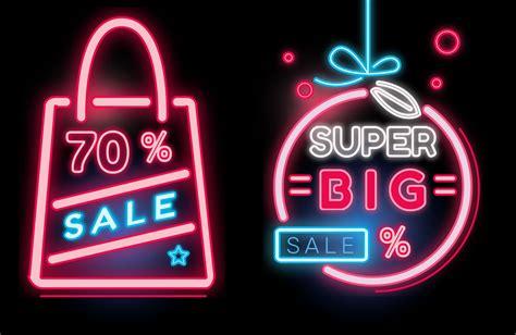 Sale Original shopping sale banner neon vector free vector
