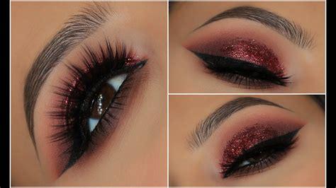red glitter smokey eye amys makeup box youtube