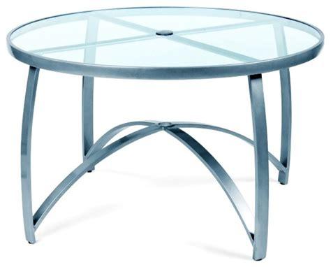 wyatt mesh 48 in umbrella table w smoked glass top